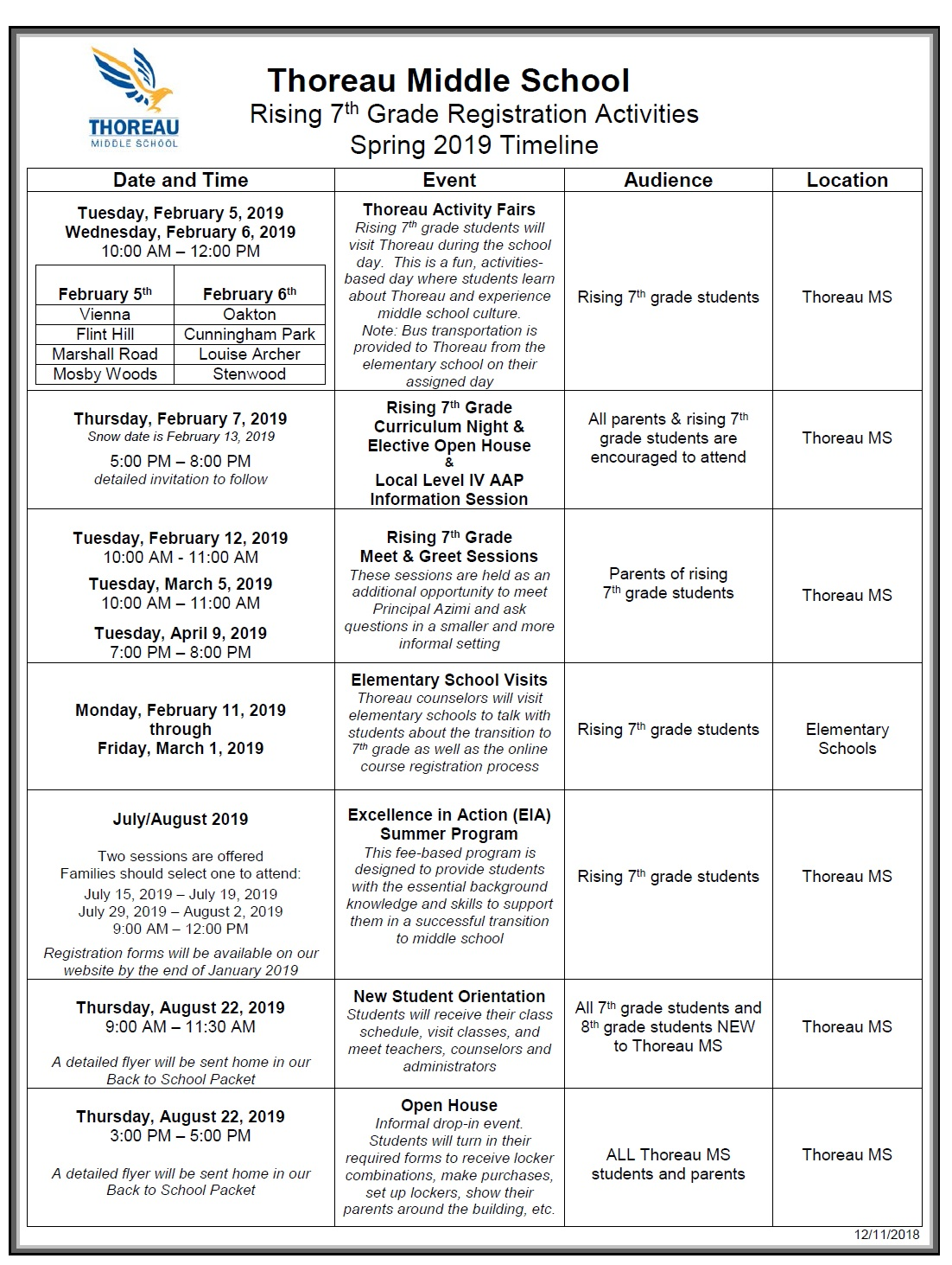 Fcps Calendar 2019.Rising 7th Grade Registration Activities Spring 2019 Timeline